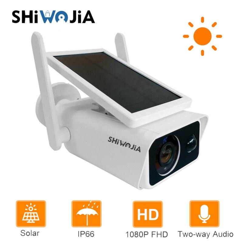 SHIWOJIA Solar IP Camera Wifi Battery Solar Powered Security Camera PIR 1080P Video Intercom Low Power Consumpti Surveillance