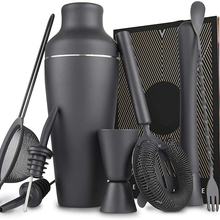 Bar-Tool Cocktail-Shaker-Set Parisian Black Stainless-Steel 11piece Matte