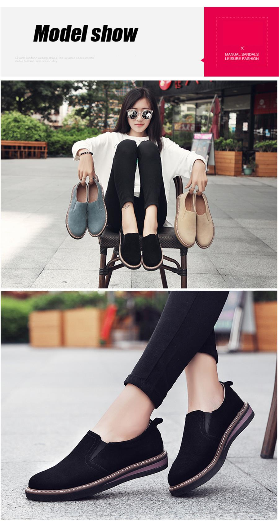 STS BRAND 2019 New Spring Women Flats Sneakers Suede Leather Round Toe Shoes Casual Shoes Women Slip On Flat Loafers Fazz Oxford (24)