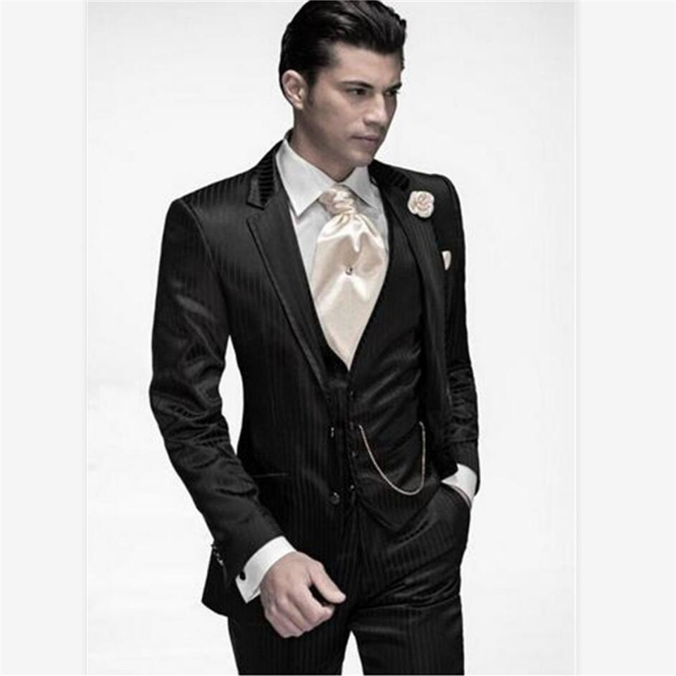 New Classic Men's Suit Smolking Noivo Terno Slim Fit Easculino Evening Suits For Men Two Button Black Stripe Groom Tuxedos Groom