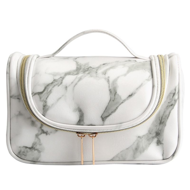 Women Organizer Insert Bag Marble Cosmetic Bag Waterproof Travel Makeup Brush Bag Storage Pouch Toiletry Wash Beaut Kit