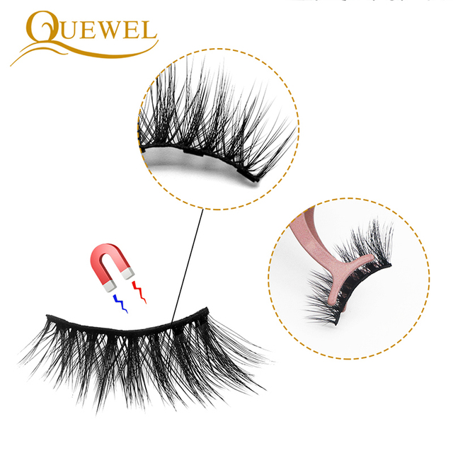 Quewel Magnetic Eyelashes Eyeliner Set 25mm False Eyelash & Magnetic Eyeliner & Tweezers 4 Pairs/Box Convenient Long Makeup Kit 2