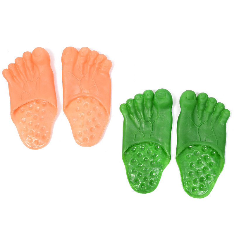 2019 New Soft Bottom Green Big Foot Child Slippers Party Shoes Funny Halloween Shoes Show Cosplay Props One Size Child Slipper