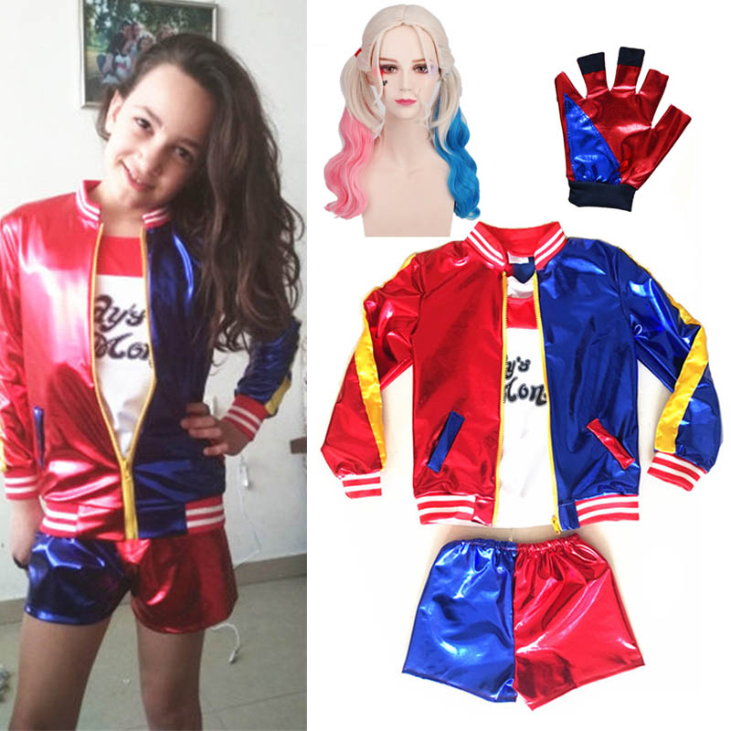 Halloween Costumes For Kids Cosplay Suicide Squad Harley Quinn Costumes T Shirt Jackets Pants Christmas Carnival Party Clothing