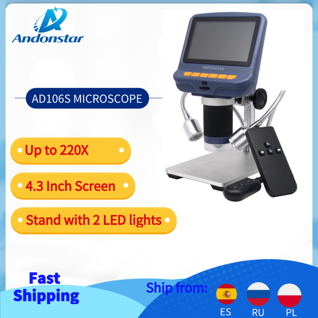 Andonstar USB Microscopio Digitale con schermo per il telefono di riparazione strumento di saldatura bga smt gioielli valutazione uso biologico regalo dei capretti