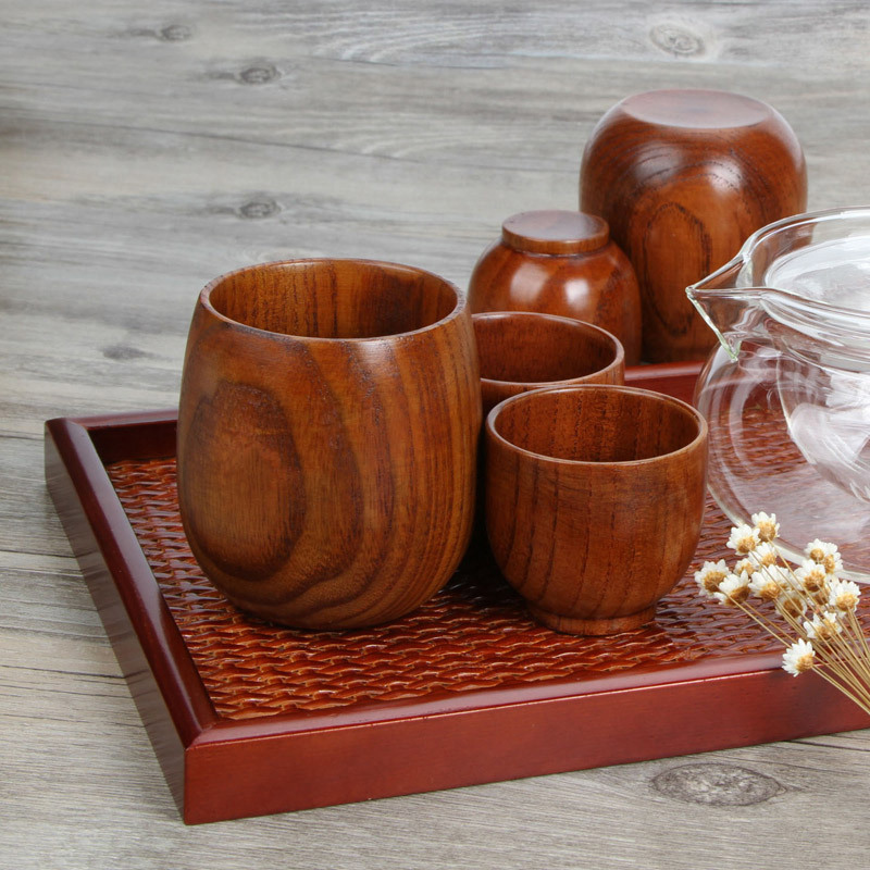 Solid Jujube Mug Wooden Coffee Beer Mugs Wood Drinking Cup Handmade Tea Cup Home Office MJJ88 in Tumblers from Home Garden