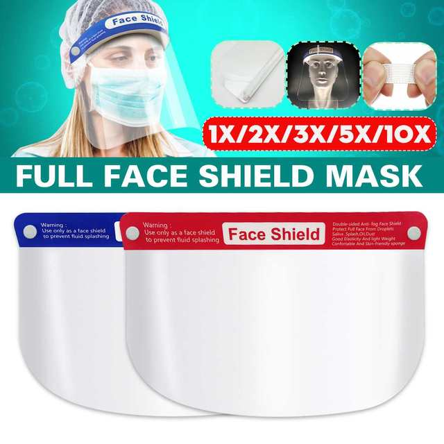 5/10/16/20x Safety Full Face Mask Helmet Clear Face Shield Cover Transparent Lens Film Protector Anti-fog anti-droplets