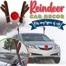 Brinquedo janelas rena veado alce antlers casa festa de natal decoração para casa navidad festa de natal engraçado decoração do carro # yj