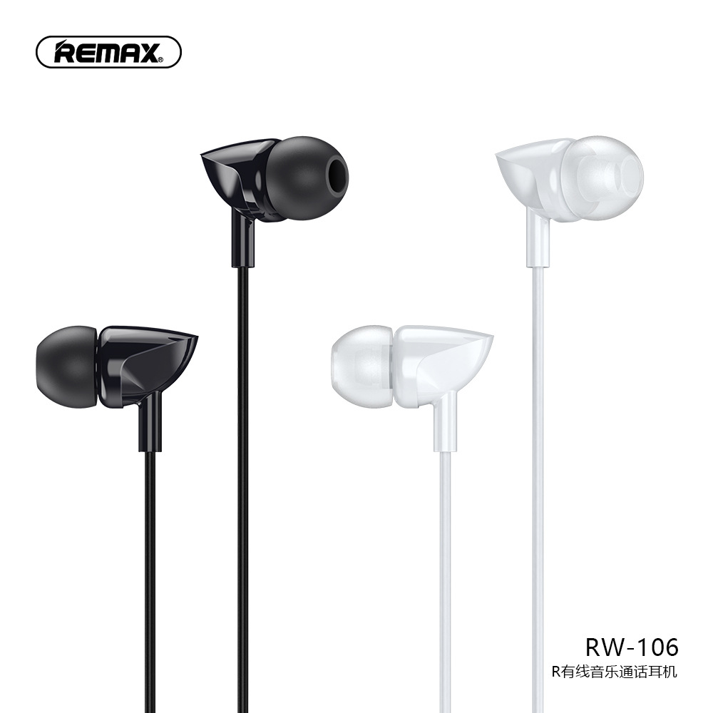 Remax RW-106 New Music Earphone With HD Mic In-Ear 3.5mm Jack Wire Earphone For iPhone 6s 6 5s 5 Xiaomi Samsung Huawei Earbuds image