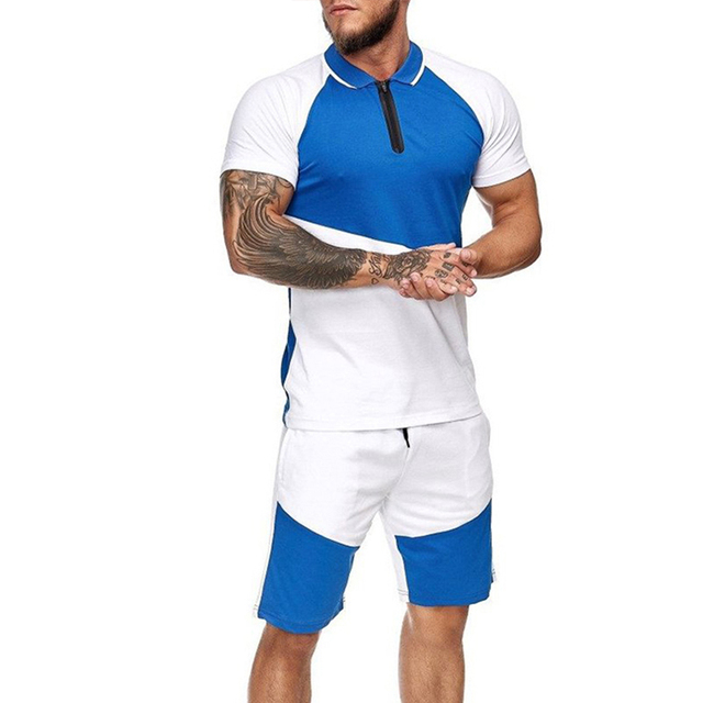 Summer Fashion Mens Shorts Sets 2021 Casual Color Matching Short Sleeved 2 Piece Set Running Sports Fitness Tracksuit Men 5