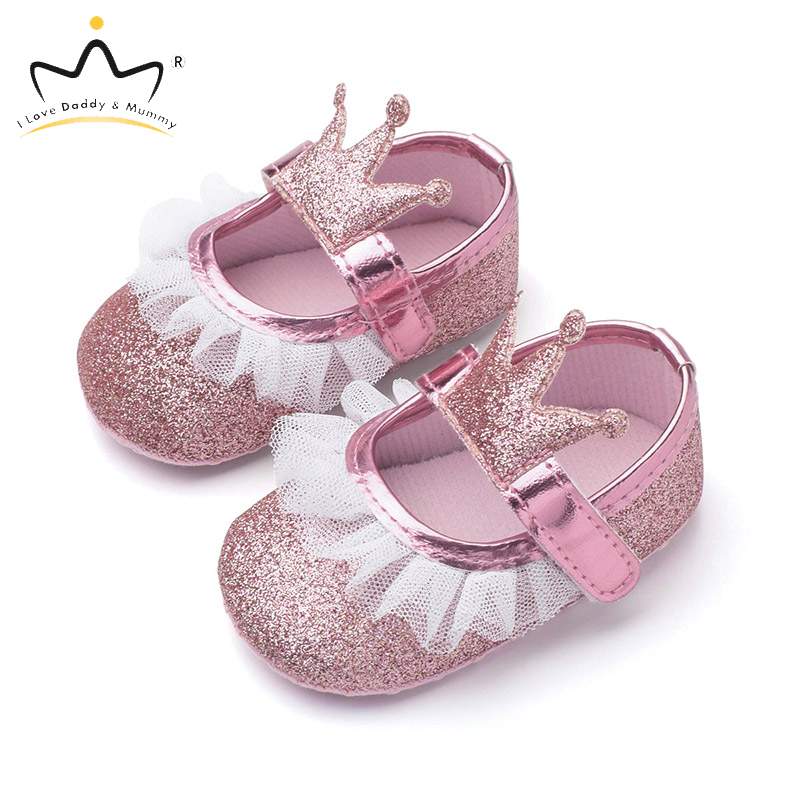 New Baby Girl Shoes Lace  Flower Crown Princess Baby Girl Shoes Soft Sole Non Slip Girls First Walkers Summer Toddler Shoes