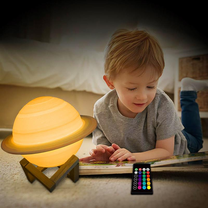 New Dropshipping 16 Colors Rechargeable Environmental Friendly 3D Print Saturn Lamp Moon Color Night Light With Remote Dropship (16 Colors 15cm)