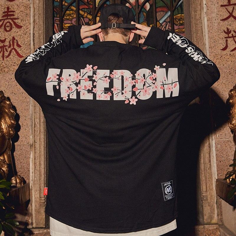 Image 4 - Толстовка в стиле Харадзюку, свободный свитер с изображением сакуры в стиле хип хоп, уличная одежда для мужчин, Толстовка Оверсайз в японском стиле, Длинная тонкая Толстовка 2019Толстовки и свитшоты   -