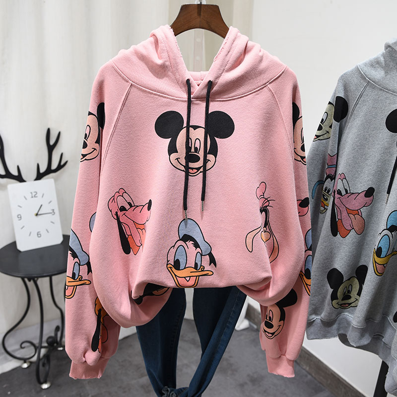 Spring New Women's Cartoon Printed Hoodie Retro Cap Cotton Shirt Plus Size Student Girls Long Sleeve Pullover Sweatshirt Coats