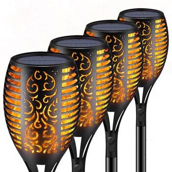 33/96 светодиодная Солнечная лампа с пламенем уличный фонарь светильник s безопасный водонепроницаемый светильник мерцающий светильник s для...