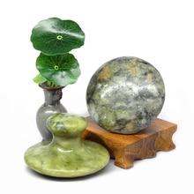 new 4pcs mushroom shaped natural green jade body massage hot stone SPA set with 110V & 220V thickened canvas bag relax