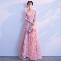 Junoesque Pink Lace Cheongsam Sexy Qipao Women Long Traditional Chinese Dress Evening Gown Party Dresses Style Chinois Femme