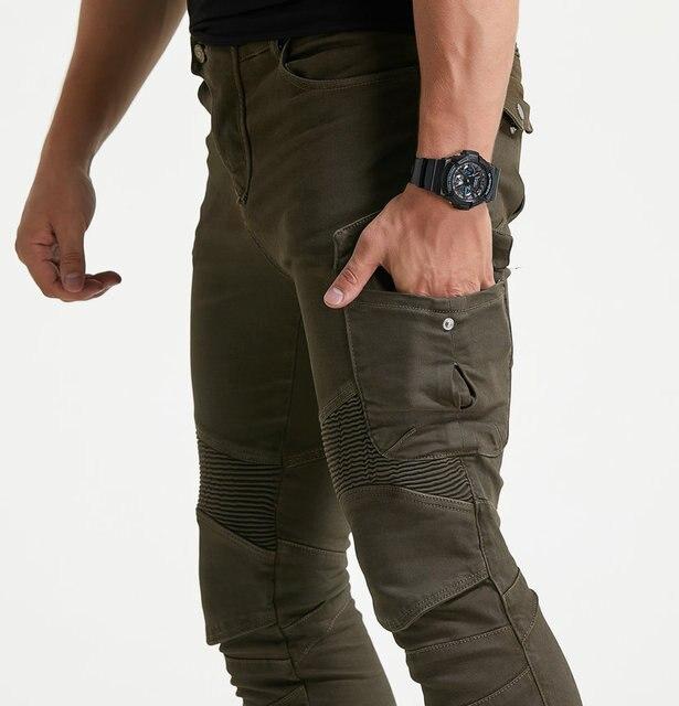 גברים של אופנוע אופנתי צמר חם חורף ג ינס Slim מקרית הגנה החטוב להפליא Motorpool CargoStyle רב כיס רכיבה מכנסיים