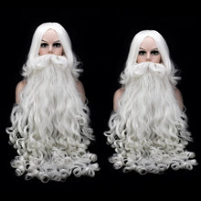 1PCS Christmas Santa Claus White Curly Beard + 1PCS Wig for Fancy Dress Cosplay Role Play Party Costume Accessories(China)
