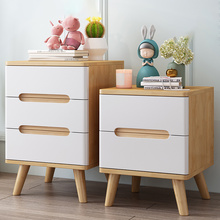 Table Bedside Cabinet Wood for Bedroom Living-Room Simple Kids Small Storage Nordic-Style