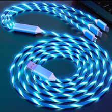 Type C Micro USB Charge Luminous 3 in 1Charger USB Wire For iphone 12 Samsung A51 Huawei Y7a Honor 9A Redmi 7 Realme Phone Cable