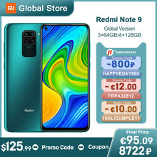 Versão global xiaomi redmi nota 9 3gb 64gb/4gb 128gb smartphone mtk helio g85 octa núcleo 48mp quad câmera traseira 6.53″