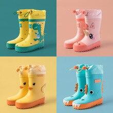 Botas de lluvia de unicornio para niños y niñas, zapatos impermeables con estampado de dibujos animados, de goma, antideslizantes