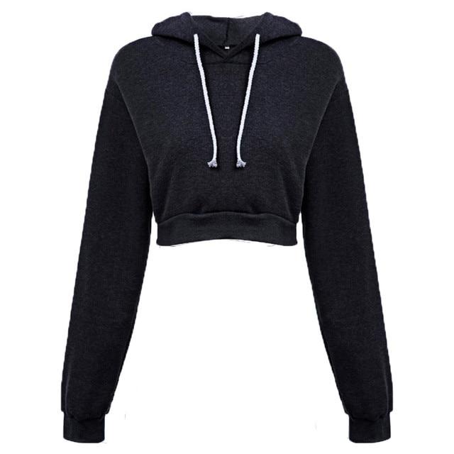 Fashion Women Hooded Loose Pullover Long Sleeve Brief Paragraph Hoodie Tops Cropped Hoodie Comfortable Sweatshirt