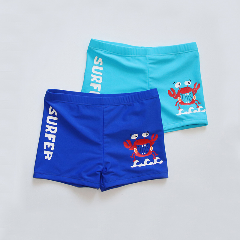 2019 New Style Animal Lettered Cartoon Pattern Children Boxer Beach Hot Springs Cute Children Swimming Trunks Men's Foreign Trad