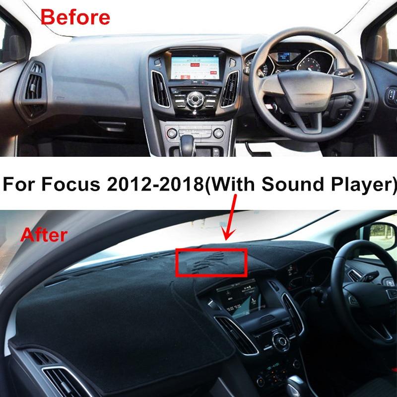ytbmhhuoupx Dashboard Cover for Ford Focus 2005-2011 Dashboard Carpet Original Car Custom Dash Mat Anti-Glare Leather Black