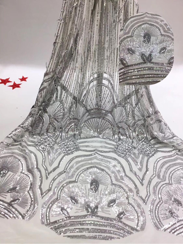 Ev ve Bahçe'ten Dantel'de Lüks sequins tül mesh dantel kumaş JIANXI.C 93605 için süper kalite ile düğün elbisesi'da  Grup 1