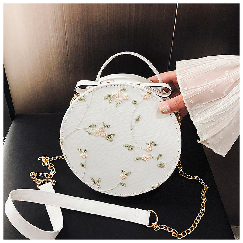2020 New Sweet Lace Round Handbags High Quality PU Leather Women Crossbody Bags Female Small Fresh Flower Chain Shoulder Bag