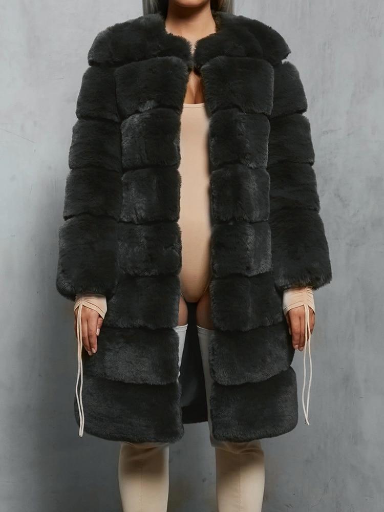 Plush Teddy Bear Fur Coat Russian Sexy Plus Size Faux Suede Fur Jacket Thick Fashion Luxury Women Winter Long Coat Fluffy
