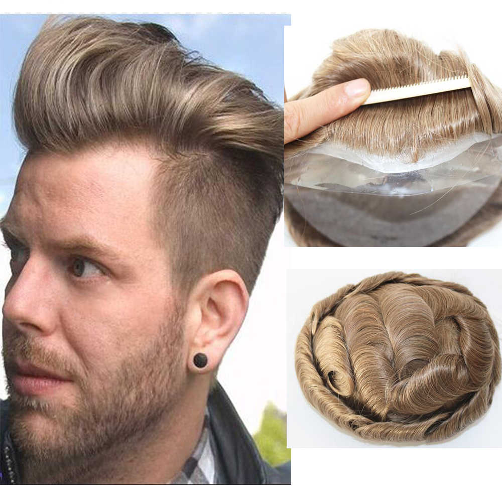 V-looped Human Hair 0.03mm Thin Skin Toupee Hairpieces For Men Indian Human Hair Replacement Wigs Natural Wave Wig Men