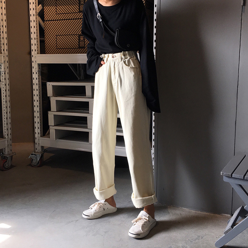 Women Jeans Pants Loose High Waist Vintage Wide Leg Jeans Korean Style Denim All-match Simple Full-length Fashion Vintage Pants