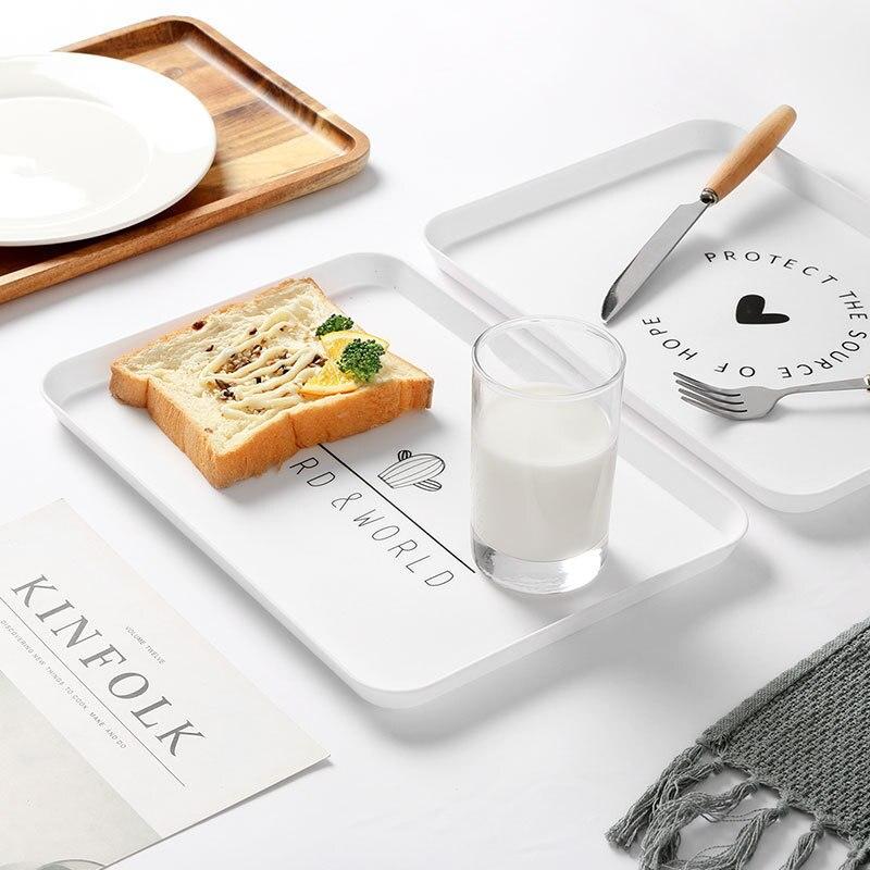 Пластиковый поднос для еды, поднос для чая, завтрака, хлеба, тарелки для хранения, квадратные тарелки для косметики, тарелки, блюдо, 1 шт.-2