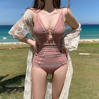 One Piece Swimsuits Swimwear 2019 Bathing Suit Swimsuit Female Fused Retro Ladies One Piece Closed New Hollow Women Thin Open