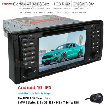 Android 10 Auto GPS Navigation Bluetooth 1 Din Vehicle Stereo with 7-inch touch screen for BMW 5-E39/X5-E53/M5/7-E38 Cam DAB USB image