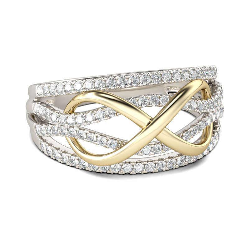 ออกแบบใหม่Forever Loveงานแต่งงานแหวนเงินสีทองแดงAAAคริสตัลหินInfinity Endless Charmเครื่องประดับ
