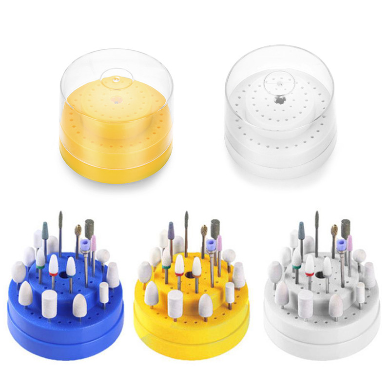 New 60Holes Nail Drill Bits Stand Holder Box Display Storage Container Tool With Cover Grinding Head Display Case Manicure Tool