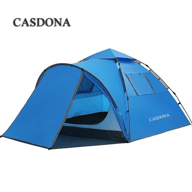 CASDONA Tourist tent large space double 3 4 people ten hydraulic automatic waterproof 4 season outdoor family beach leisure tent
