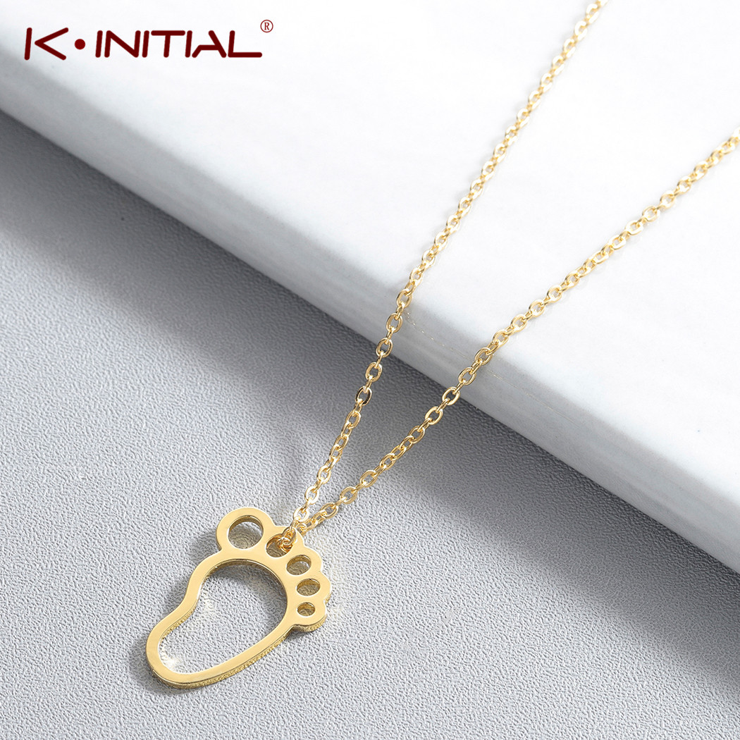 Kinitial New Foot Shape Charm Pendant Necklace Jewelry Chain Necklace Baby Footprint Necklaces For Women Mom Bijoux Gift image
