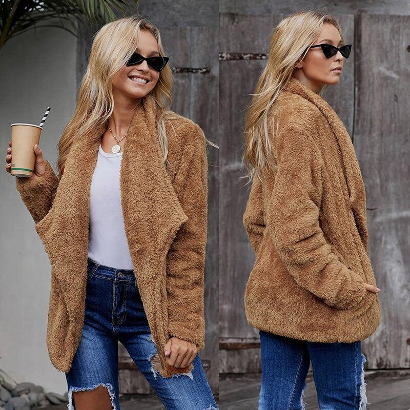 SEBOWEL Woman Long Sleeve Sherpa Fluffy Jacket Coats Faux Fur Female Pockets Warm Fluff Outwear Ladies Winter Clothes 2019 S XXL in Faux Fur from Women 39 s Clothing