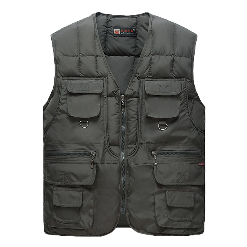 2019 New Cotton Warm Vest Man Winter With Many Pockets Male Sleeveless Jacket Men Fashion Zipper Pro Journalist Waistcoat WFY41