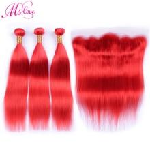 MS 愛事前色赤人間の髪のバンドルでレースフロント閉鎖ストレートレミーペルー髪バンドル閉鎖 28 30 インチ