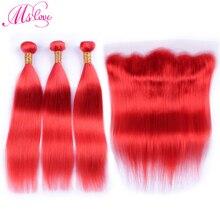 MS Love Pre สีแดงมนุษย์ผมรวมกลุ่มกับลูกไม้ปิดด้านหน้าตรง Remy Peruvian Hair Bundles ปิด 28 30 นิ้ว