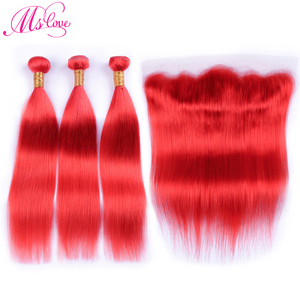 Ms Love, предварительно окрашенные красные человеческие волосы, пучки с кружевной фронтальной застежкой, прямые перуанские волосы Remy, пучки с ...