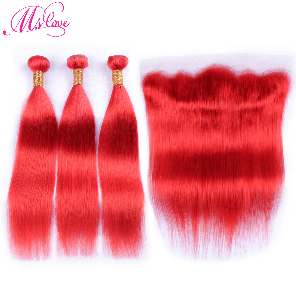 Ms Love Pre Colored Red Human Hair Bundles With Lace Frontal Closure Straight Remy Peruvian Hair Bundles With Closure 28 30inch