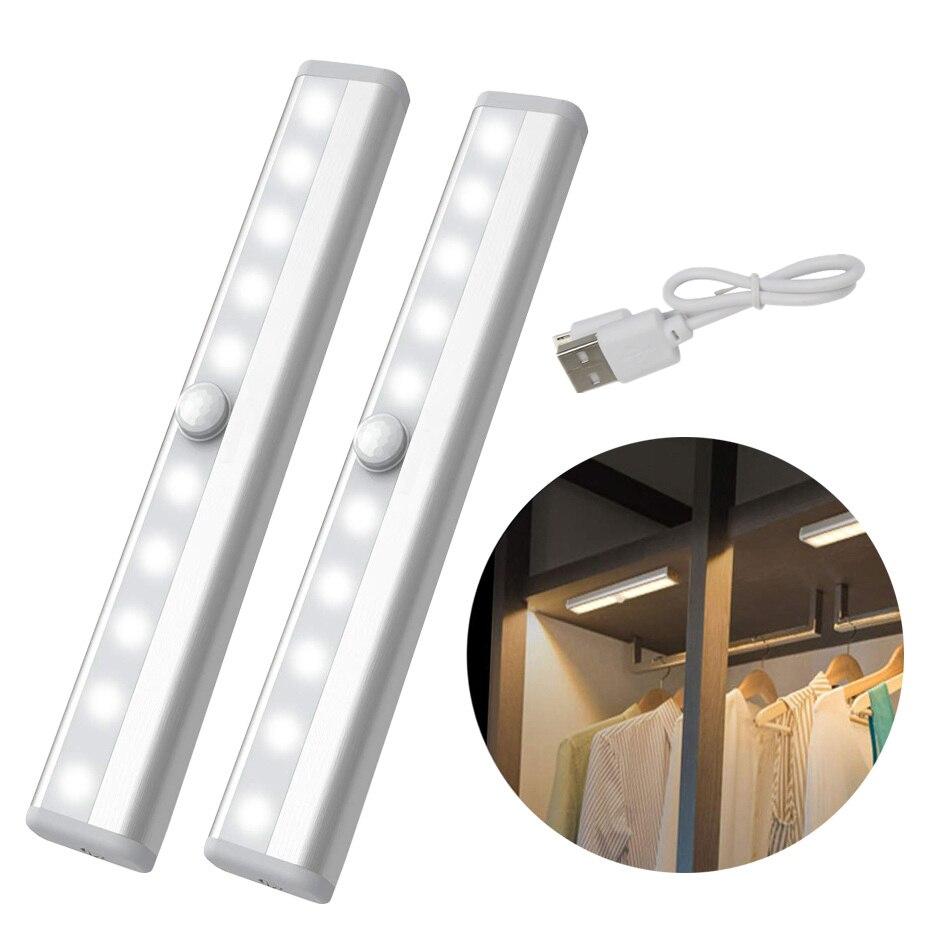 Sensor de movimiento PIR bajo las luces del gabinete 10 LED lámpara de noche USB recargable o batería de la cocina luz armario lámpara Luz LED de noche con Sensor de movimiento PIR, lámpara LED de noche, iluminación de techo, lámparas de techo para sala de estar
