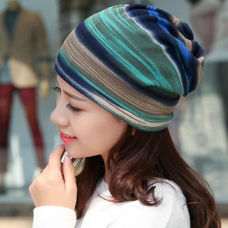 Wool Slouchy Caps Winter Women Knitted Hats Blue Green Pattern Fashionable Autumn Thick And Warm Soft Knitted Bean Tight Caps